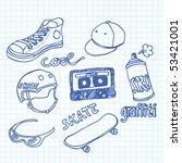 vector skateboarding doodles | Shutterstock .eps vector #53421001