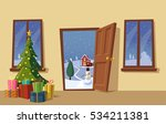 open door. winter landscape.... | Shutterstock .eps vector #534211381