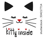 Cute Hand Drawn Kitty Inside...
