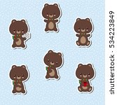 set of cute bear stickers.... | Shutterstock .eps vector #534223849