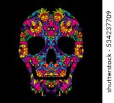 day of the dead psychedelic... | Shutterstock .eps vector #534237709