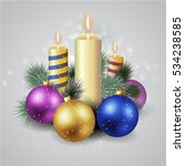 christmas candle composition. | Shutterstock .eps vector #534238585