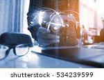 hand touch screen smart phone....   Shutterstock . vector #534239599