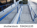 Ramp Way With Blue Handrail Fo...