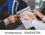 woman holding form to fill in | Shutterstock . vector #534243739