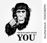 drawing of an ape with text... | Shutterstock .eps vector #534258094