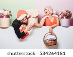 young christmas couple of santa ... | Shutterstock . vector #534264181