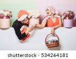 young christmas couple of santa ... | Shutterstock . vector #534264181