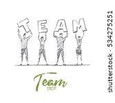 vector hand drawn team concept... | Shutterstock .eps vector #534275251