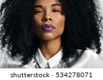 black woman with trendy violet... | Shutterstock . vector #534278071