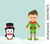 Cute Penguin With Snow And Elf