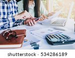 business team analyzing income... | Shutterstock . vector #534286189