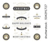 christmas labels and badges... | Shutterstock .eps vector #534291727