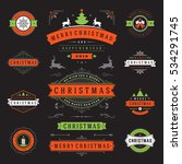 christmas labels and badges... | Shutterstock .eps vector #534291745