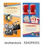 cinema 2 retro vertical banners ... | Shutterstock .eps vector #534299251