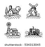 vector black farm and field on... | Shutterstock .eps vector #534313045