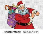 santa claus shows on the clock  ... | Shutterstock . vector #534314644