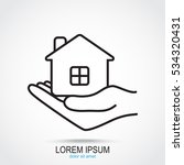 line icon  save house   Shutterstock .eps vector #534320431