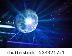 disco ball with blue rays ... | Shutterstock . vector #534321751