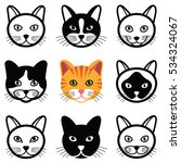 Stock vector cat animal cartoon face icon collection vector illustration 534324067