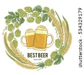 wreath with hops  wheat and... | Shutterstock .eps vector #534329179