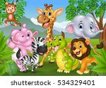 Stock vector cartoon wild animal in the jungle 534329401