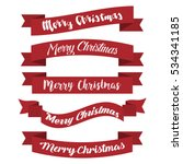 set of red ribbons for merry... | Shutterstock .eps vector #534341185