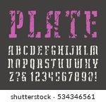 stencil plate slab serif font... | Shutterstock .eps vector #534346561