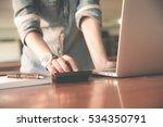 business women work with... | Shutterstock . vector #534350791