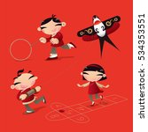 classic old chinese kid games ...   Shutterstock .eps vector #534353551