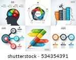 Vector human head, pencil, businessman and other elements for infographic. Template for diagram, graph, presentation and chart. Business concept with 3, 4 and 5 options, parts, steps or processes. | Shutterstock vector #534354391