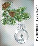 vector christmas fir tree and... | Shutterstock .eps vector #534356047