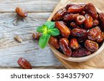 Dried Date And Green Mint In A...