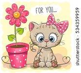 greeting card kitten girl with...   Shutterstock .eps vector #534359959