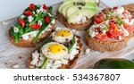 tasty and delicious bruschetta... | Shutterstock . vector #534367807