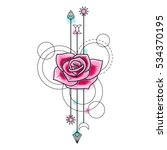 abstract floral techno tattoo... | Shutterstock .eps vector #534370195