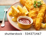 fish and chips | Shutterstock . vector #534371467