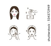 woman removing make up with a... | Shutterstock .eps vector #534372949