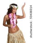 hawaiian hula dancer girl | Shutterstock . vector #53438314