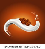 milk splash with coffee beans... | Shutterstock .eps vector #534384769