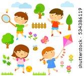 set of cute kids playing...   Shutterstock . vector #534386119