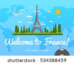 welcome to france travel poster ... | Shutterstock .eps vector #534388459