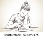 girl focused on using tablet ... | Shutterstock .eps vector #534390175