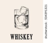 whiskey glass. hand drawn drink ...