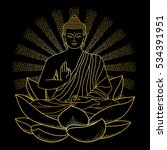sitting outline gold buddha on... | Shutterstock .eps vector #534391951