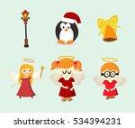 christmas and angel  vector art ... | Shutterstock .eps vector #534394231