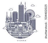 vienna line detailed skyline.... | Shutterstock .eps vector #534402025
