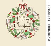 christmas and new year card... | Shutterstock .eps vector #534404647