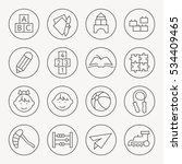preschool thin line icons | Shutterstock .eps vector #534409465