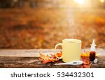 cup with hot tea and... | Shutterstock . vector #534432301